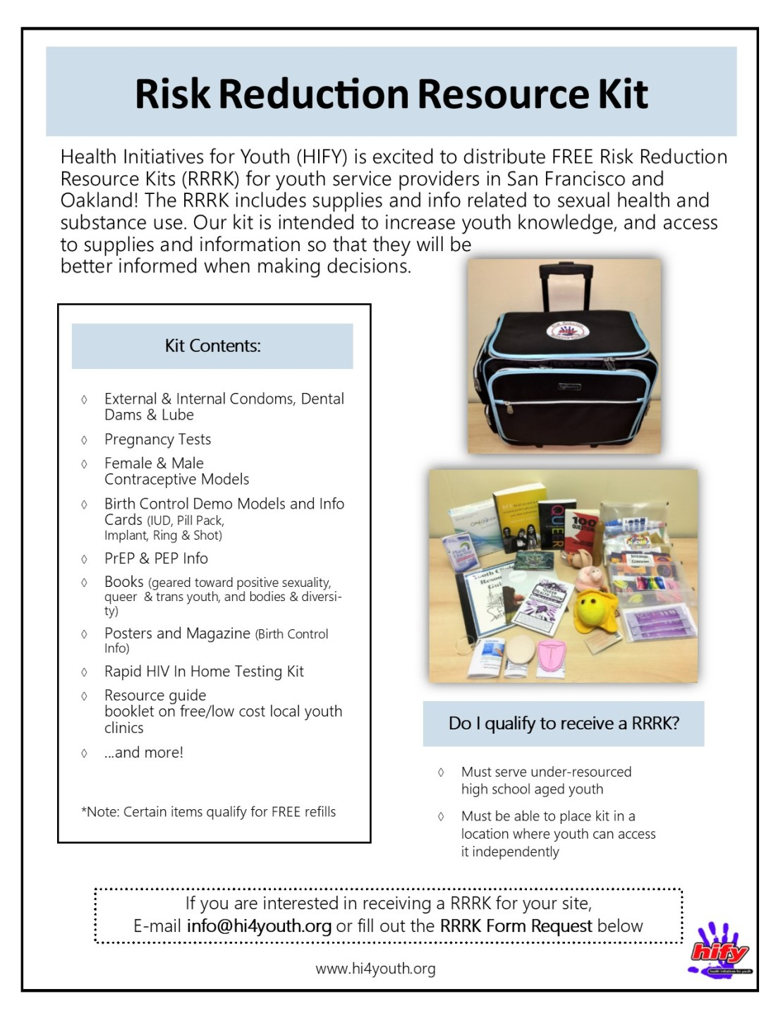 FREE Risk Reduction Resource Kits